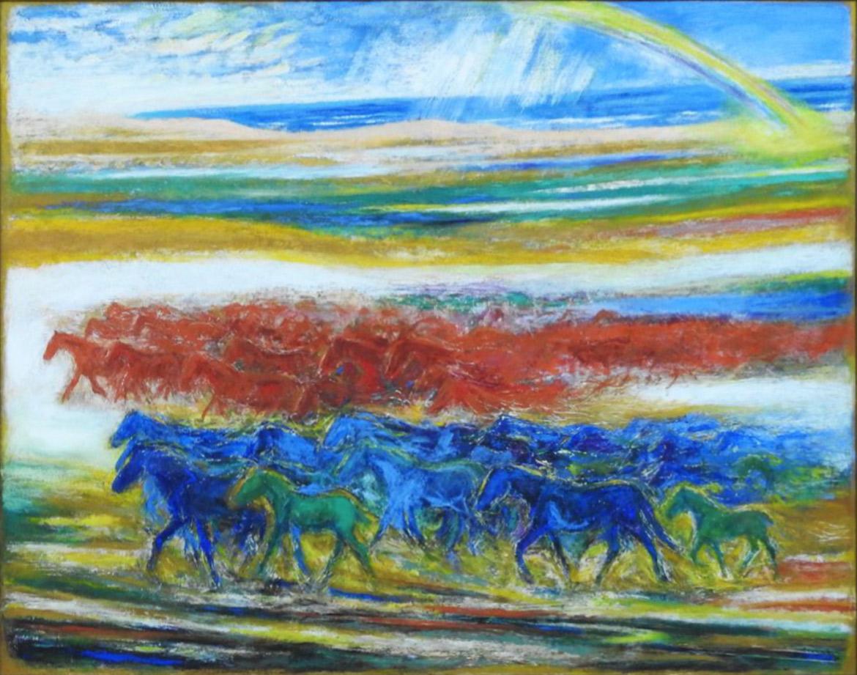 虹 馬の群れ